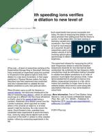 2014 09 Ions Relativistic Dilation Precision
