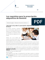 Requisitos Prescripcion Adquisitiva de Dominio