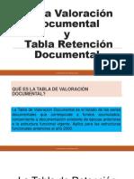 Tabla Valoración Documental y Tabla Retención Documental