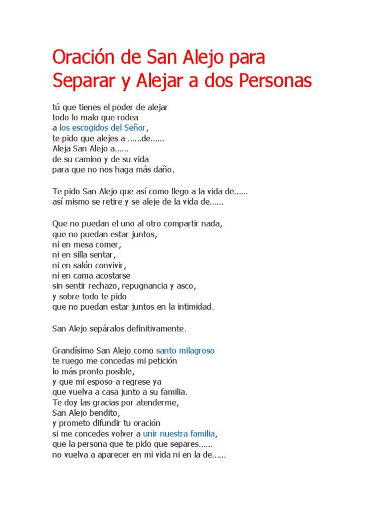 Oración de San Alejo Para Separar y Alejar a Dos Personas