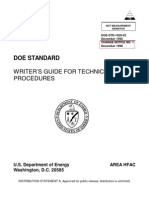 Doe Writer's Guide for Technical Procedures Doe-std-1029-92