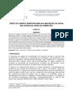 EFEITO DO ADITIVO HIDROFUGANTE NA ABSORÇÃO DE ÁGUA DAS PASTAS DE GESSO DE FUNDIÇÃO