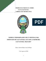 Modelo Termodinamico de Un Sistema Para Obtencion Del Gas Natural