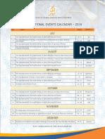 AlHuda CIBE - International Event Calendar July - Dec, 2018