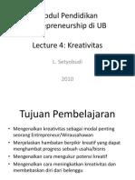 Lecture 4. Kreatifitas