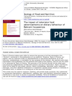 The Impact of Television Food Advertisements on Dietary Behavior of Bahraini Housewives