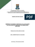Emprego Do Modelo Servqual Na Avaliacao Da Qualidade de Servicos Da Imobiliaria Santoro