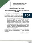 COMUNICADO PNP N° 22 - 2018