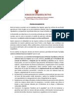 Pronunciamiento del presidente Martín Vizcarra