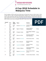 Fifa World Cup 2018 Schedule in Malaysia Time