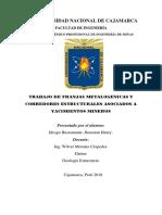 Franjas Metalogenicas y Corredores Estructurales Asociados a Yacimientos Mineros