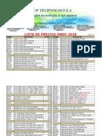 Lista de Mayo Precios Distribuidor 2018 New Technology