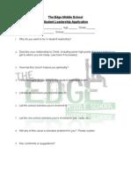 Edge Student Leadership Application