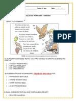 Avaliação de Português 3º Ano i Unidade