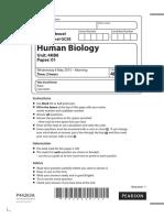 human bio edexcel past paper o-level