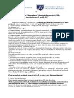 Precizari OTI - Etapa Judeteana 8 Aprilie 2017