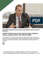 20180414 Engie Prepara El Cierre de Dos Nuevas Unidades a Carbón y Proyecta Invertir USD 1000 M en ERNC