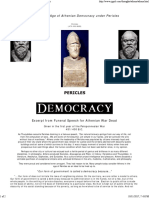 Funeral Speech of Pericles From Athens Democracy