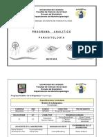 Programa Analítico Parasitología 2018