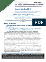 ValuEngine Weekly Newsletter September 24, 2010