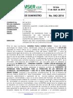 Contrato Suministro No 42-2014 - Suministro de Elementos Para Aaa