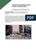 Terremoto en Los Ultimos 20 Años en El Perú2
