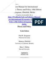 Solution Manual for International Economics Theory and Policy 10th Edition Krugman, Obstfeld, Melitz