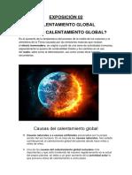 exposición sobre el calentamiento global