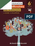 HANSE - Dictionnaire Des Difficultés Du Français Moderne