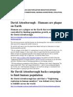 David Attenborough Wants Millions Dead