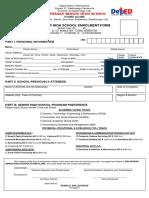 SHS Enrolment Form