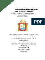 INFORME DEL PROCESO DE LA MERMELADA Y NECTAR