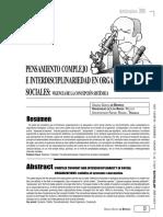 Pensamiento Complejo e Interdisciplinariedad en Organizaciones Complejas