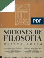 1955 - Gustavo Bueno & Leoncio Martínez. Nociones de Filosofía. Qinto Curso. Salamanca 1955