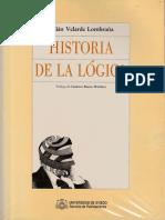 1989 - Historia de La Lógica. Julian Velarde. Prólogo de Gustavo Bueno
