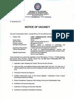 Notice of Vacancy Dec