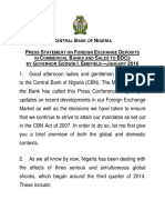 CBN to Permits Deposit of Foreign Exchange From Customer - January 2016