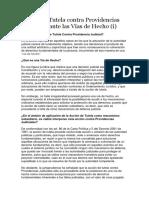 Acción de Tutela Contra Providencias Judiciales Ante Las Vías de Hecho