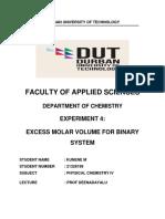 Excess Molar Volume for Binary System Kunene