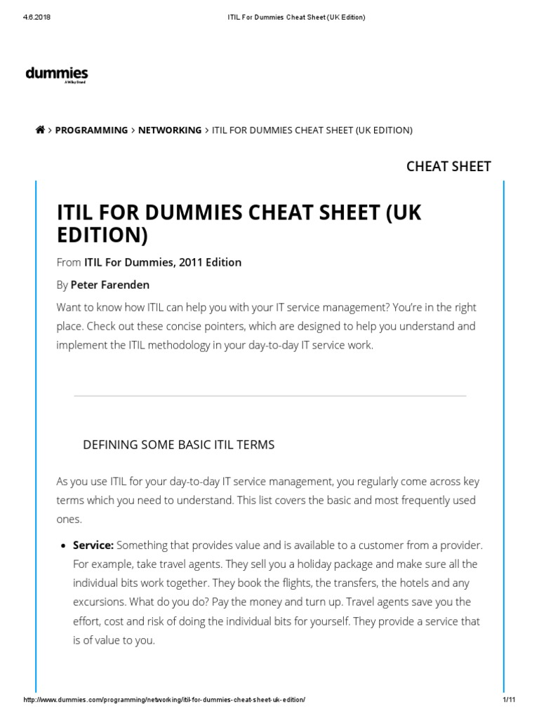 Edition 2011 pdf dummies for itil