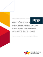 Versión del Balance de la Gestión Educativa Descentralizada