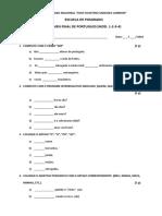 Examen de Suficiencia -Portugues Basico