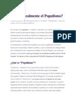 (Qué Es Realmente) El Populismo 2