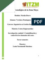 Unidad 2 Investigación- Contabilización y Control de Los Elementos Del Costo.