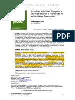 Aprendizaje e Identidad El Papel de La Educación Formal en La Construcción de Las Identidades.