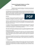 Fuentes de Energía Existente en El País