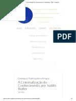 A Criminalização Do Conhecimento, Por Judith Butler