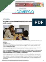 Los Trastornos de Aprendizaje Se Identifican a Mitad Del Ciclo Escolar _ El Comercio