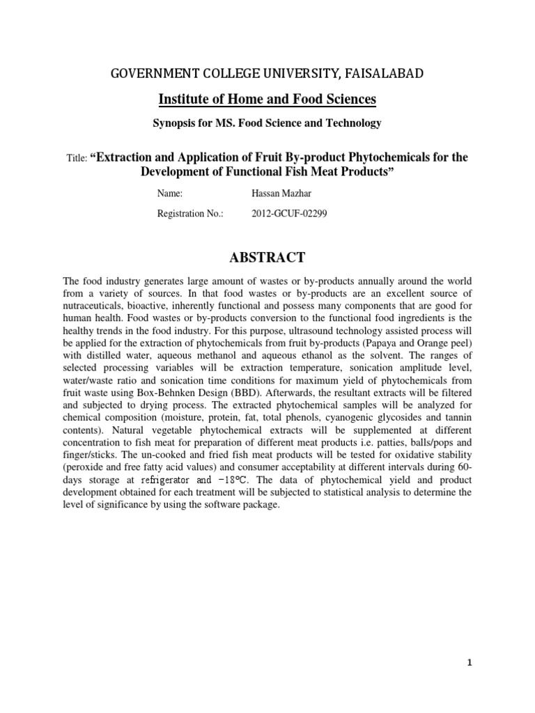 Synopsis Hassan Maik 1 | Phenols | Nutrición
