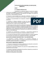 Resumen y Preguntas Sobre Politica Nacional de Educacion Ambiental